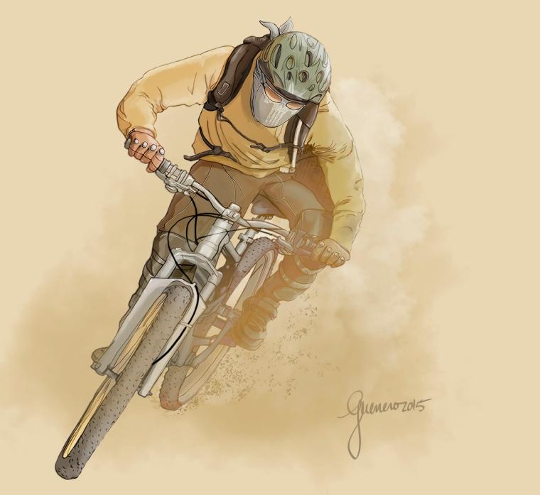 guerrero_ilustradora_diseño_ciclista_montaña_MB